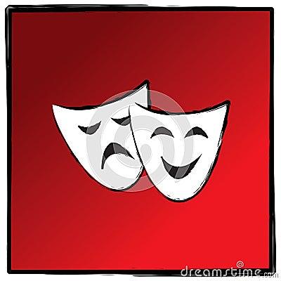 Theater drama masks vector illutration