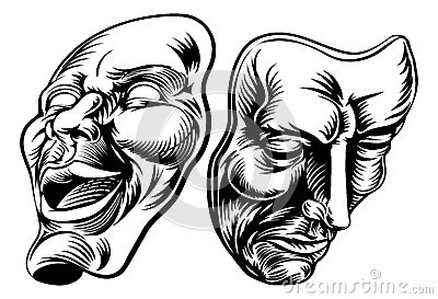 An original illustration of Theatre Masks, comedy and tragedy, in a ...