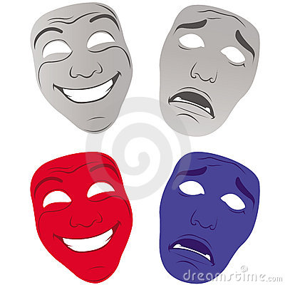 Theater masks sad and happy