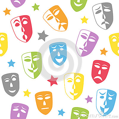 Theater Masks Seamless Pattern