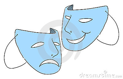Theater masks symbol illustration