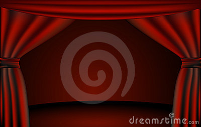Theater stage, curtains