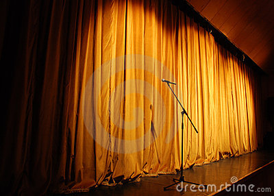 Theater stage with microphone