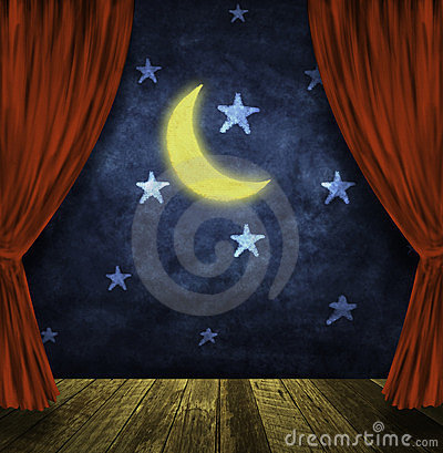 Theater stage with moon and stars