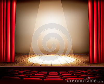 A theater stage with a red curtain, seats and a spotlight. Vector Illustration