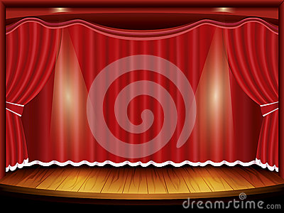 Theater stage with red curtain and spotlight