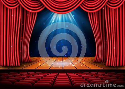 A theater stage with a red curtain and a spotlight and wooden floor. Festival Night Show poster. Vector Vector Illustration
