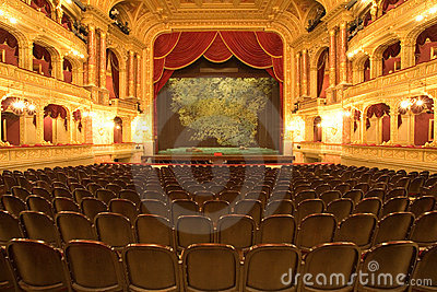 Theater stage with red velvet