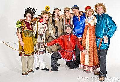 Theater troupe in costumes