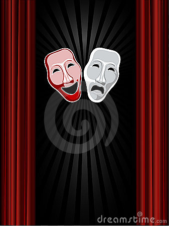 Theatre comedy and tragedy masks and black backgro