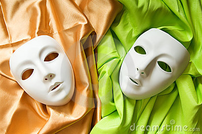 Theatre concept - white  masks