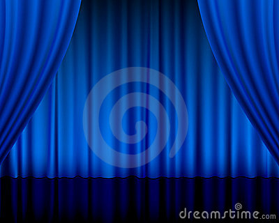 Theatre curtain blue