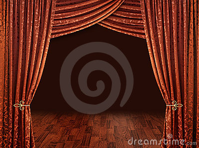 Theatre curtains, copper red