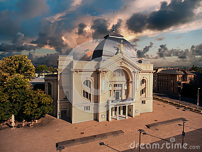 Theatre gera aerial view town tourism architecture Editorial Photography