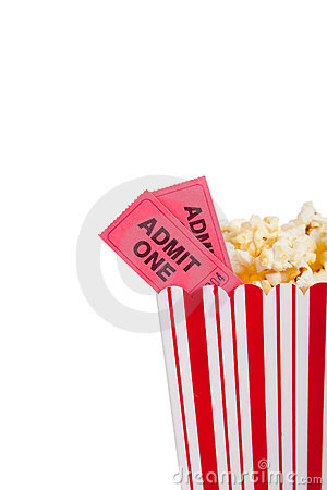 Theatre popcorn container with movie ticket