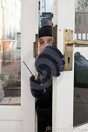Theif breaking-in burglary security