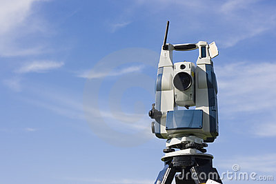 Theodolite against blue sky