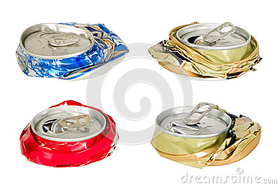 Thera are four battered cans