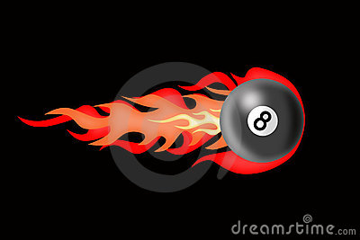 There is a billiard ball afire