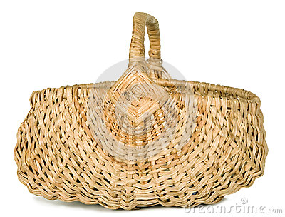 There is a wicker basket