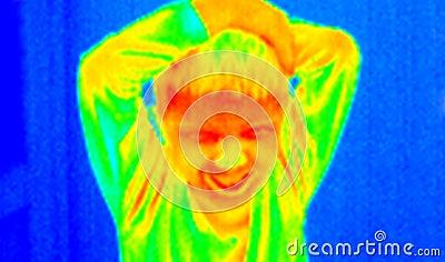 Thermografiek-boos jong geitje