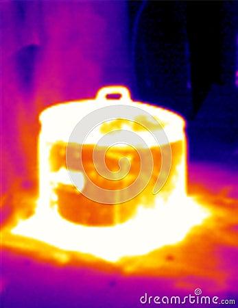 Thermografiek die pot 2 stoomt