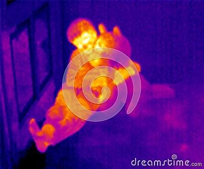 Thermograph-Kind und Teddybär