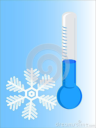 Thermometer cold with snowflake