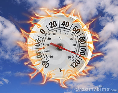 Thermometer on fire in blue sky