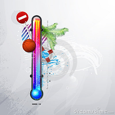 Thermometer icon of hot and cold indicator. EPS10,