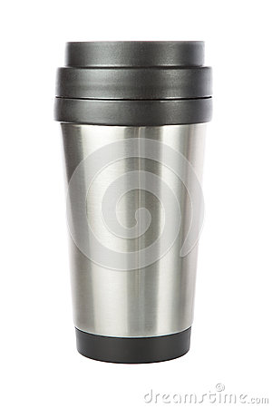 Thermos travel tumbler, cup. On a white background