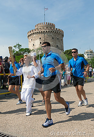 Thessaloniki welcomes Olympic Torch Editorial Photography