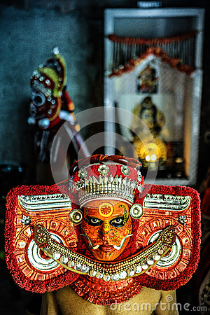 Theyyam is a ritualistic folk art form of Kerala Editorial Photo