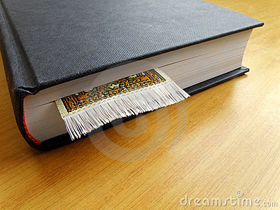Thick book with book mark