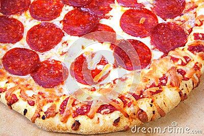 Thick crust peperoni pizza