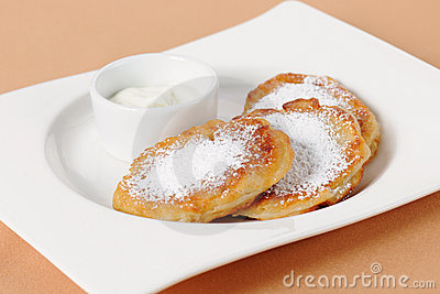 Thick pancake of the cottage cheese Stock Photo