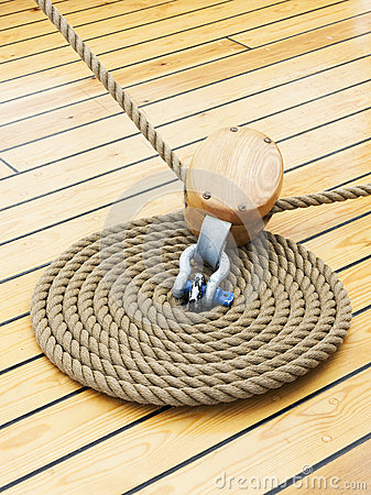 Thick rope on wood floor
