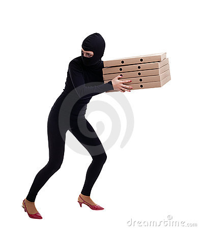 Thief in balaclava with boxes