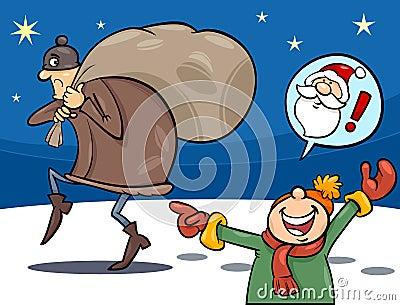 Thief on christmas cartoon illustration