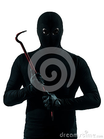 Thief criminal holding crowbar portait