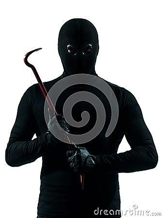 Thief criminal holding crowbar portait