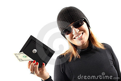 Thief girl holding a safe