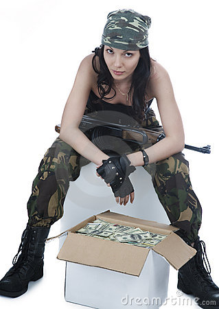 Free Thief Girl In Camouflage Royalty Free Stock Photos - 7260278