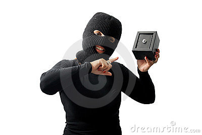 Thief holding a safe