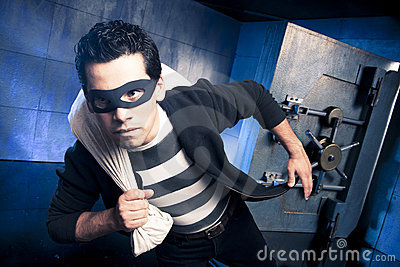 Thief running away with money