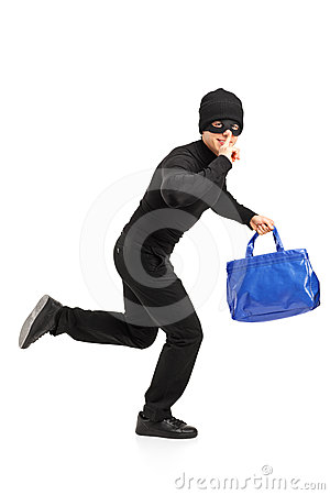 Thief running with a purse and finger on lips