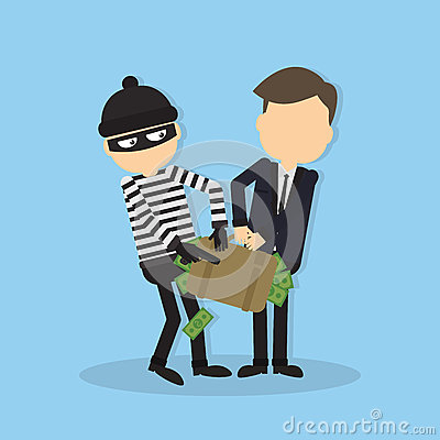 Thief stealing money funny cartoon thief in black mask stealing a bag