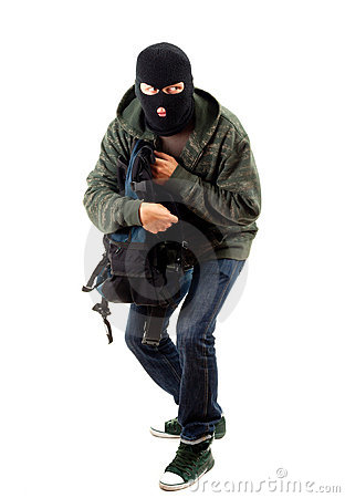 Thief with stolen backpack