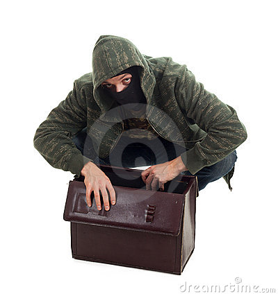 Thief with stolen suitcase