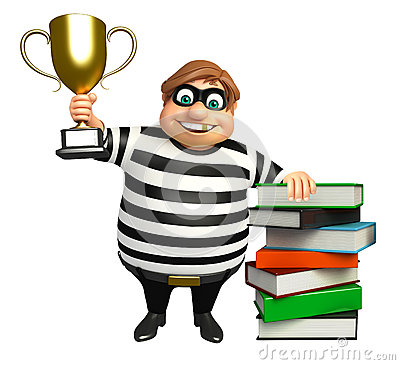 Free Thief With Book Stack & Winning Cup Royalty Free Stock Image - 77467596